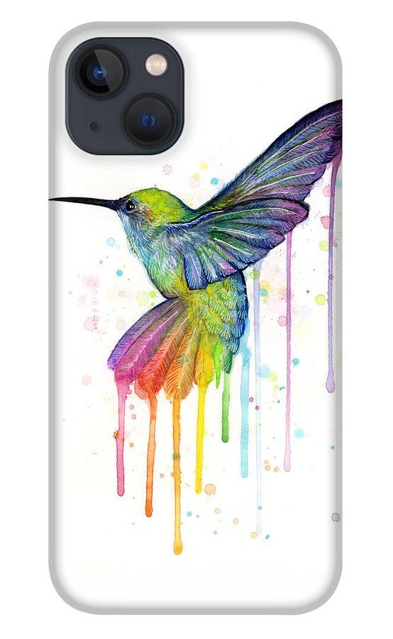 Hummingbird iPhone 13 Case featuring the painting Hummingbird of Watercolor Rainbow by Olga Shvartsur