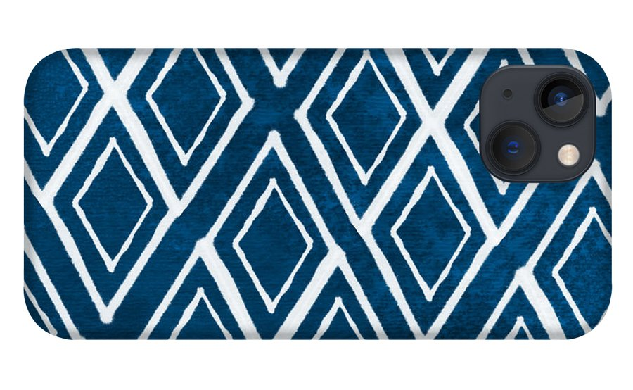 Indigo And White iPhone 13 Case featuring the painting Indgo and White Diamonds Large by Linda Woods