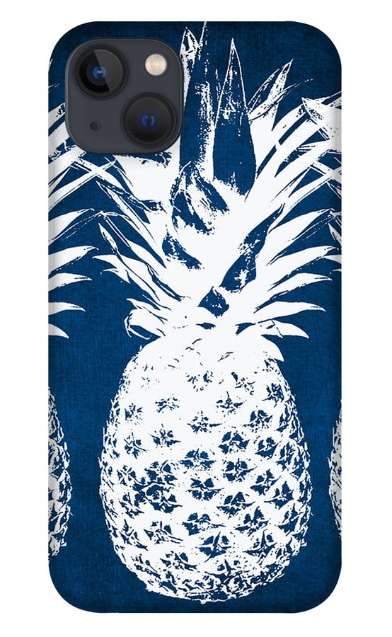 Indigo iPhone 13 Case featuring the painting Indigo and White Pineapples by Linda Woods