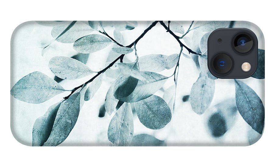 Foliage iPhone 13 Case featuring the photograph Leaves In Dusty Blue by Priska Wettstein