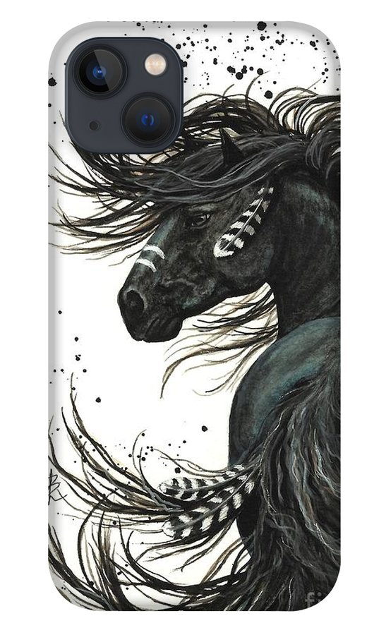 Mm65 iPhone 13 Case featuring the painting Majestic Spirit Horse I by AmyLyn Bihrle