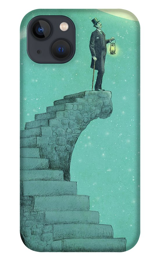 Moon iPhone 13 Case featuring the drawing Moon Steps by Eric Fan