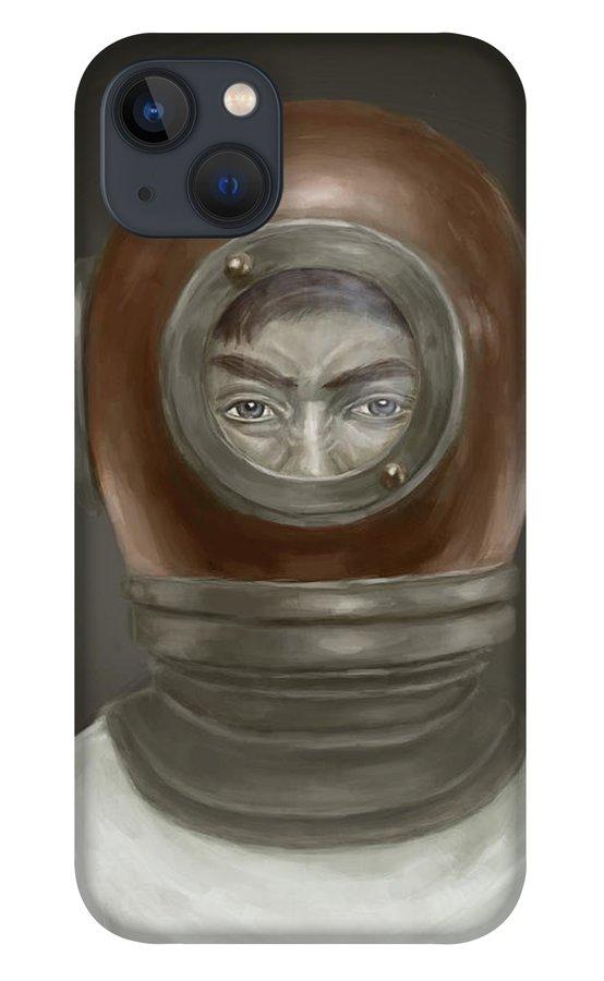 Digital iPhone 13 Case featuring the digital art Self Portrait by Balazs Solti