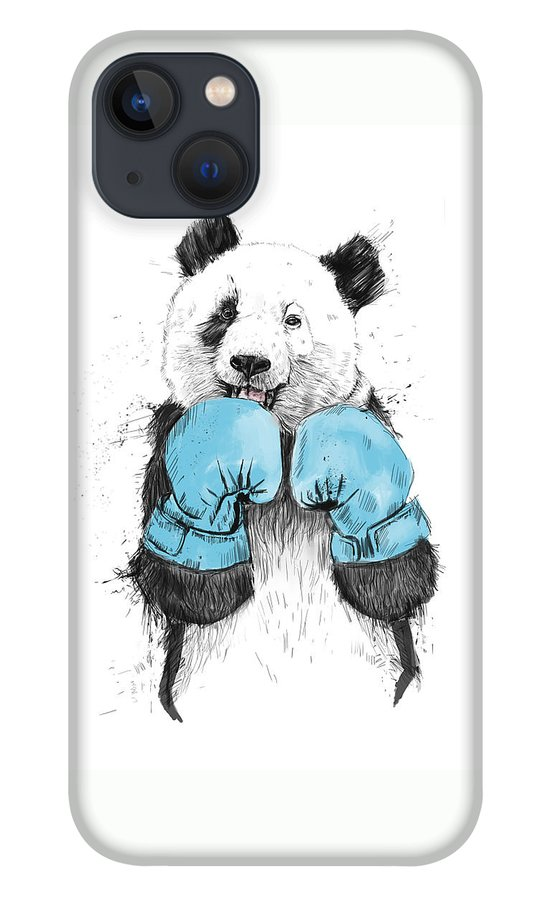 Panda iPhone 13 Case featuring the drawing The Winner by Balazs Solti