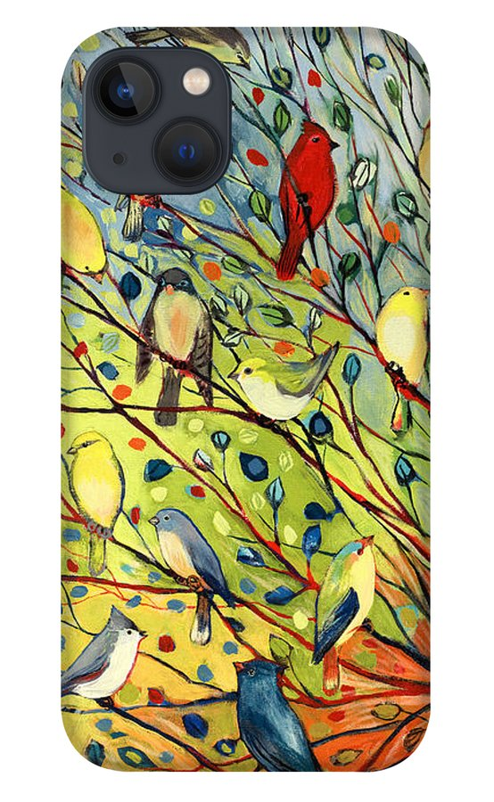 Bird iPhone 13 Case featuring the painting 27 Birds by Jennifer Lommers