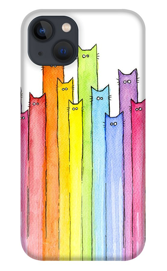 Cats iPhone 13 Case featuring the painting Cat Rainbow Watercolor Pattern by Olga Shvartsur