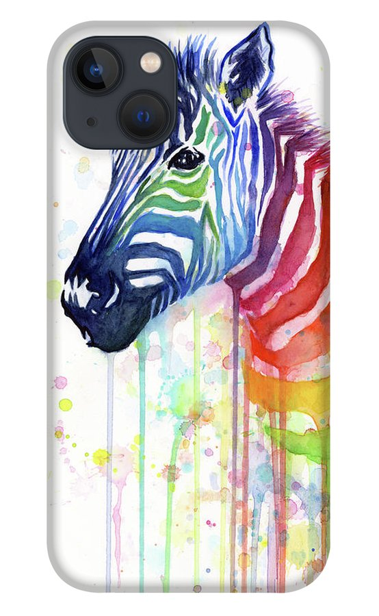 Rainbow iPhone 13 Case featuring the painting Rainbow Zebra - Ode to Fruit Stripes by Olga Shvartsur
