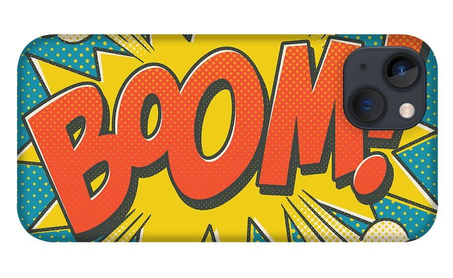 Comic iPhone 13 Case featuring the digital art Comic Boom on Blue by Mitch Frey