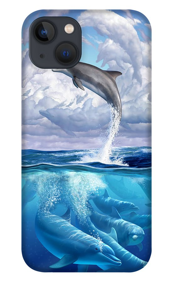 Dolphins iPhone 13 Case featuring the digital art Dolphonic Symphony by Jerry LoFaro