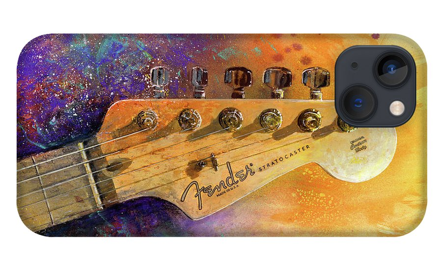 Fender Stratocaster iPhone 13 Case featuring the painting Fender Head by Andrew King