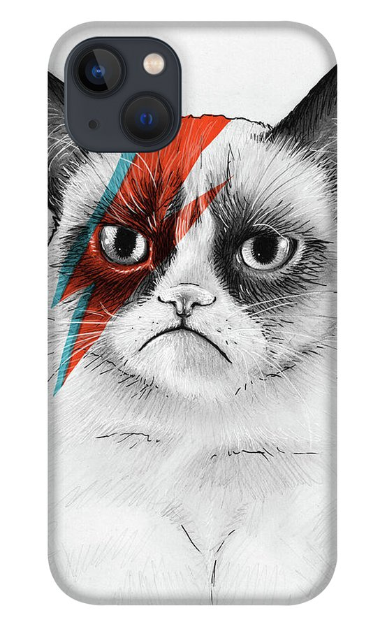 Grumpy Cat iPhone 13 Case featuring the drawing Grumpy Cat as David Bowie by Olga Shvartsur