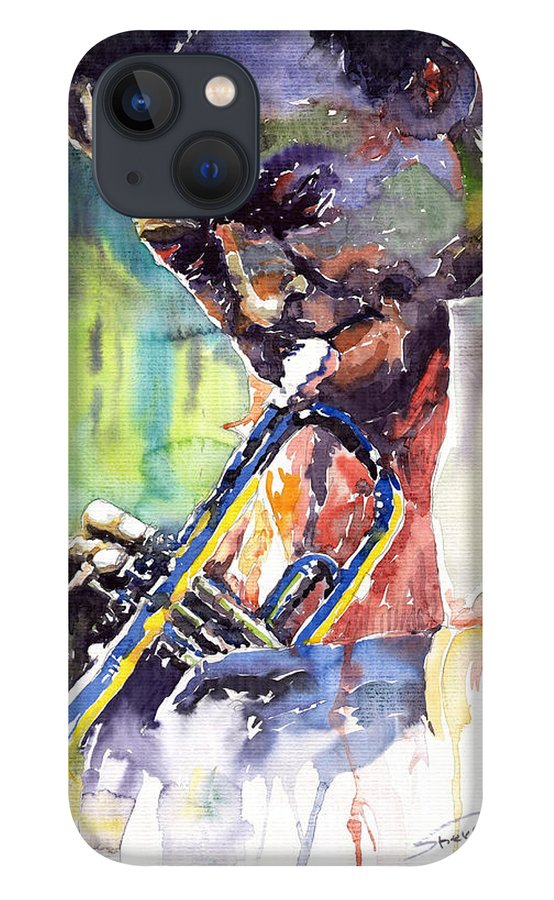Jazz iPhone 13 Case featuring the painting Jazz Miles Davis 9 Blue by Yuriy Shevchuk
