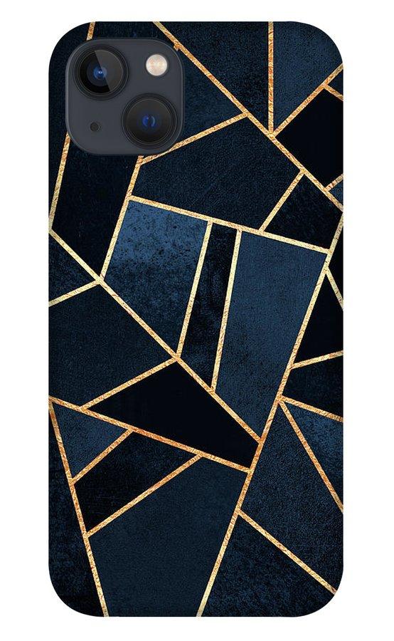 Digita iPhone 13 Case featuring the digital art Navy Stone by Elisabeth Fredriksson