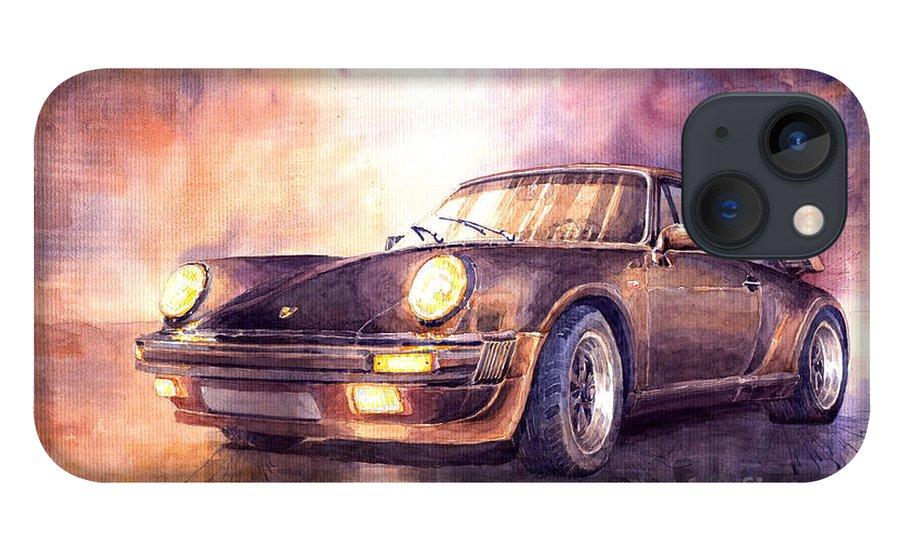 Shevchukart iPhone 13 Case featuring the painting Porsche 911 Turbo 1979 by Yuriy Shevchuk
