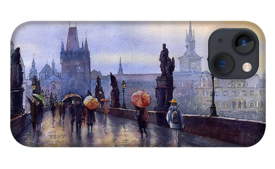 Cityscape iPhone 13 Case featuring the painting Prague Charles Bridge by Yuriy Shevchuk