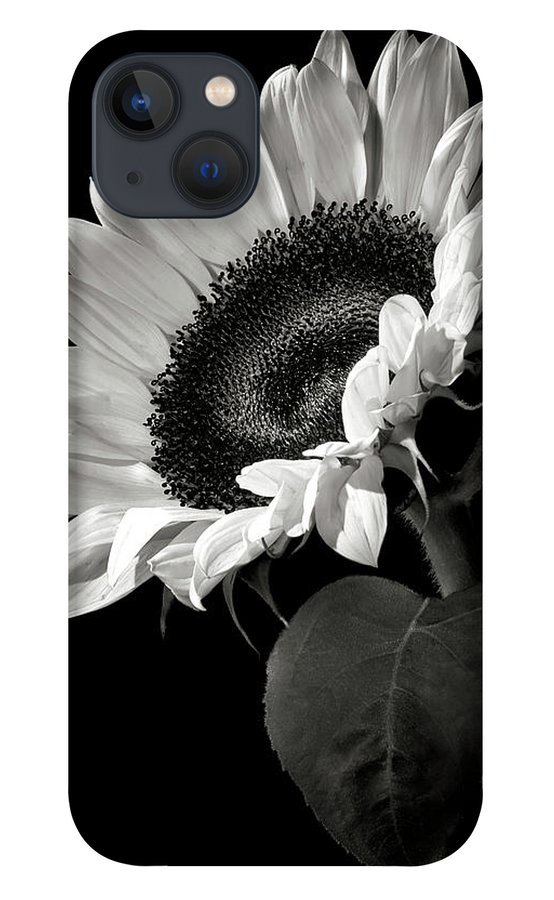 Flower iPhone 13 Case featuring the photograph Sunflower in Black and White by Endre Balogh