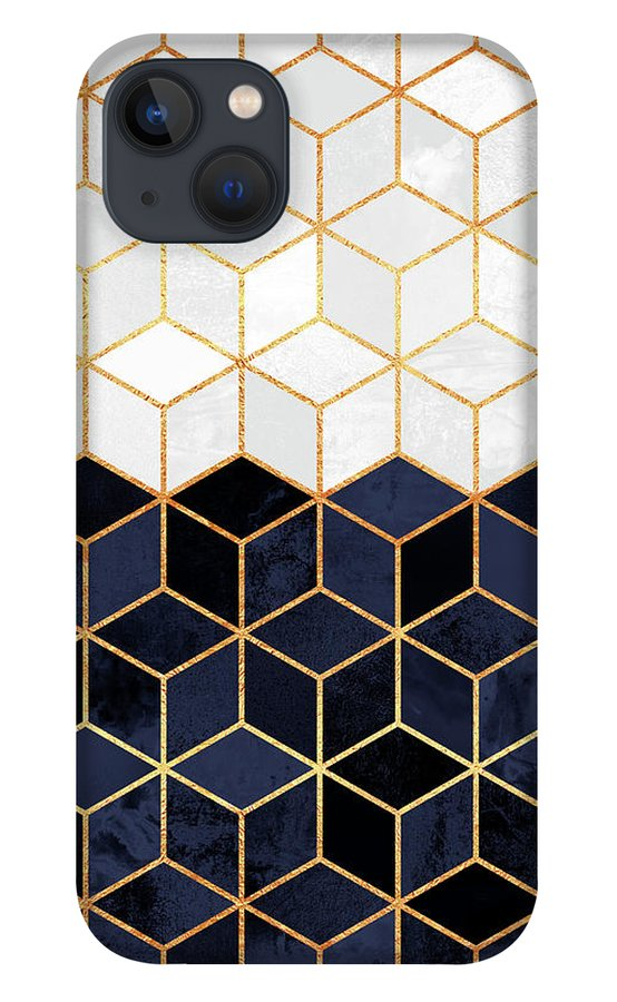 Graphic iPhone 13 Case featuring the digital art White and navy cubes by Elisabeth Fredriksson