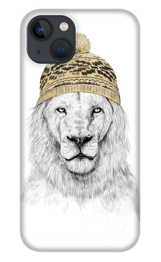 Lion iPhone 13 Case featuring the drawing Winter lion by Balazs Solti