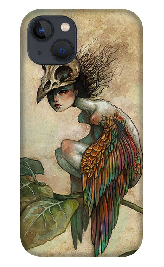 Bird iPhone 13 Case featuring the painting Soul of a Bird by Caroline Jamhour
