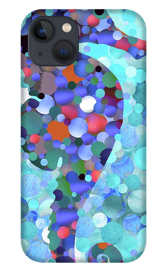 Seahorse IPhone 13 Case featuring the painting Big Seahorse - Beach Mosaic Fish Art by Sharon Cummings