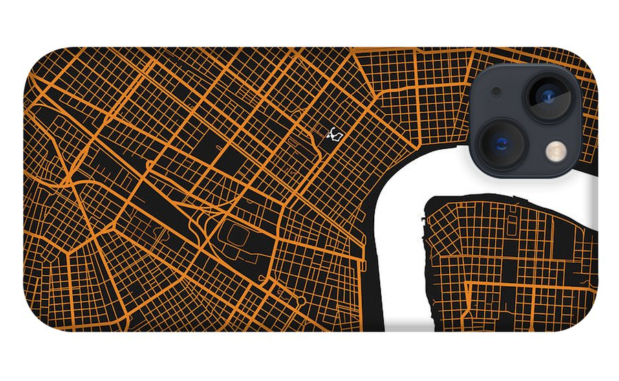 New Orleans Map iPhone 13 Case featuring the photograph New Orleans Map by Mark Rogan