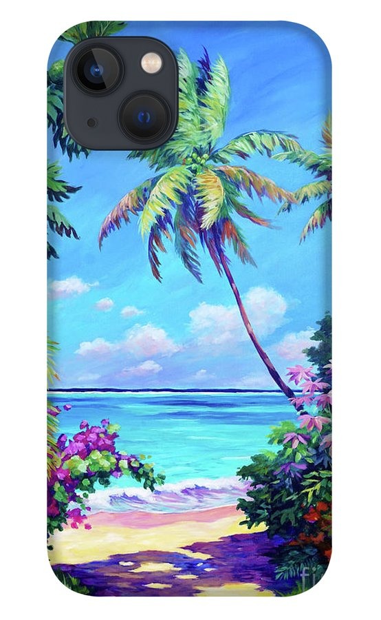 Art iPhone 13 Case featuring the painting Ocean View with Breadfruit Tree by John Clark