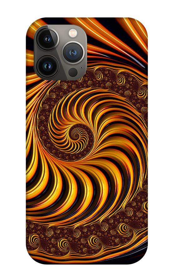 Golden Fractal Spiral iPhone 13 Case