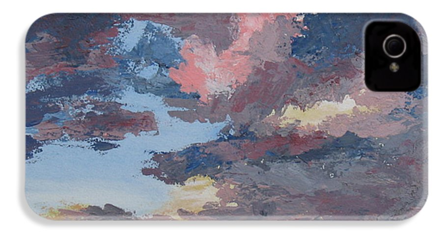 Stormy Sky IPhone 4 Case featuring the painting Storm A Brewin by Janis Mock-Jones