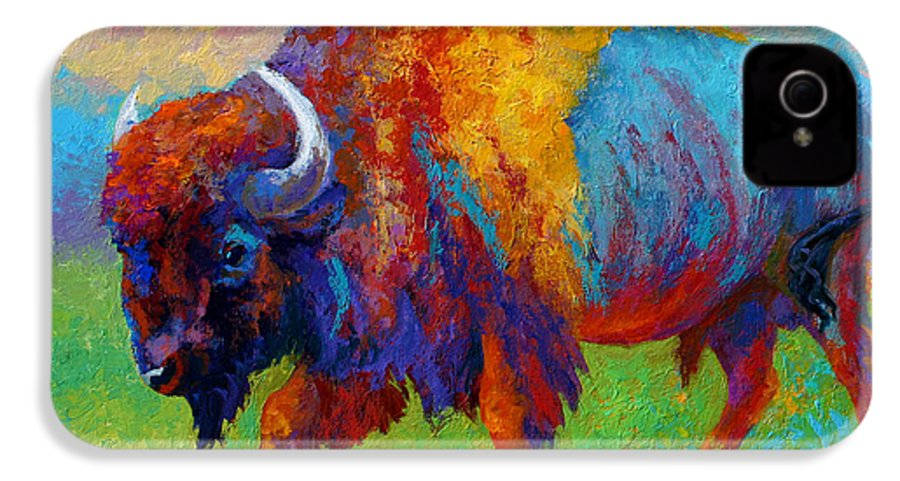 Wildlife IPhone 4 Case featuring the painting A Journey Still Unknown - Bison by Marion Rose