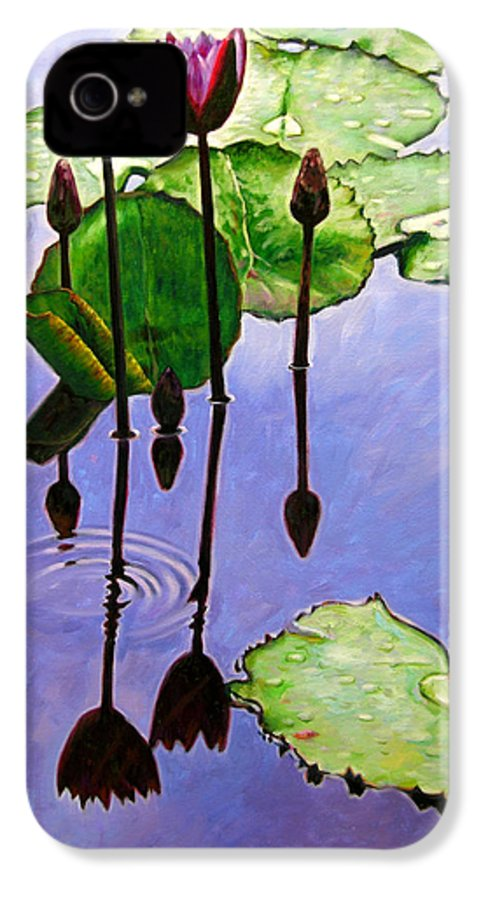 Rose Colored Water Lilies After A Morning Shower With Dark Reflections And Water Ripple. IPhone 4 Case featuring the painting After The Shower by John Lautermilch
