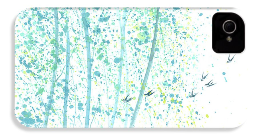 Birds Flying Through An Aspen Forest. This Is A Contemporary Chinese Ink And Color On Rice Paper Painting With Simple Zen Style Brush Strokes. IPhone 4 Case featuring the painting Aspen Forest by Mui-Joo Wee