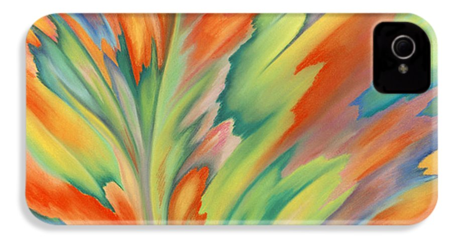 Abstract IPhone 4 Case featuring the painting Autumn Flame by Lucy Arnold