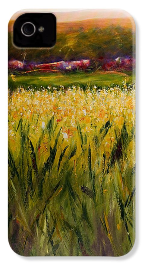 Landscape IPhone 4 Case featuring the painting Beyond The Valley by Shannon Grissom