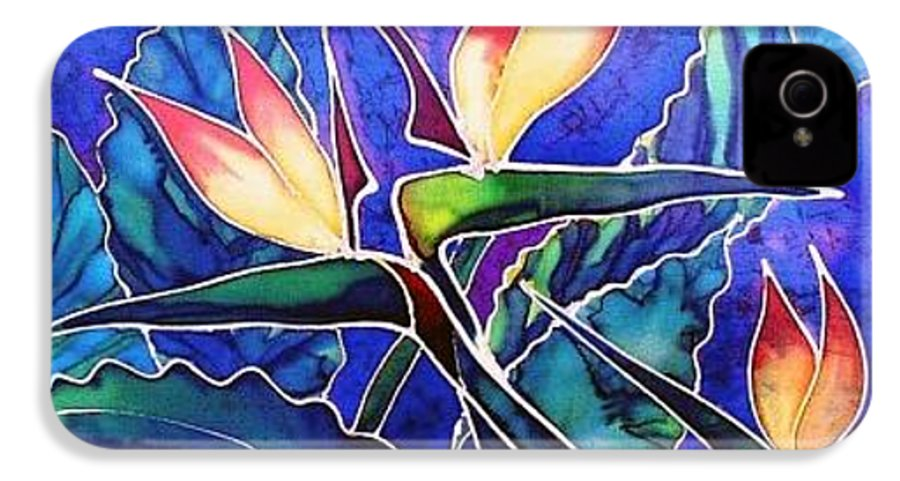 Silk Painting IPhone 4 Case featuring the painting Birds Of Paradise II by Francine Dufour Jones