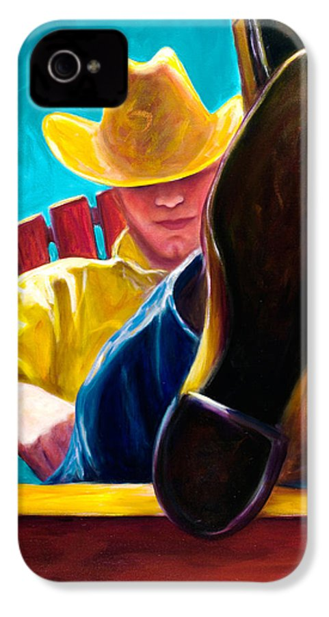 Western IPhone 4 Case featuring the painting Break Time by Shannon Grissom