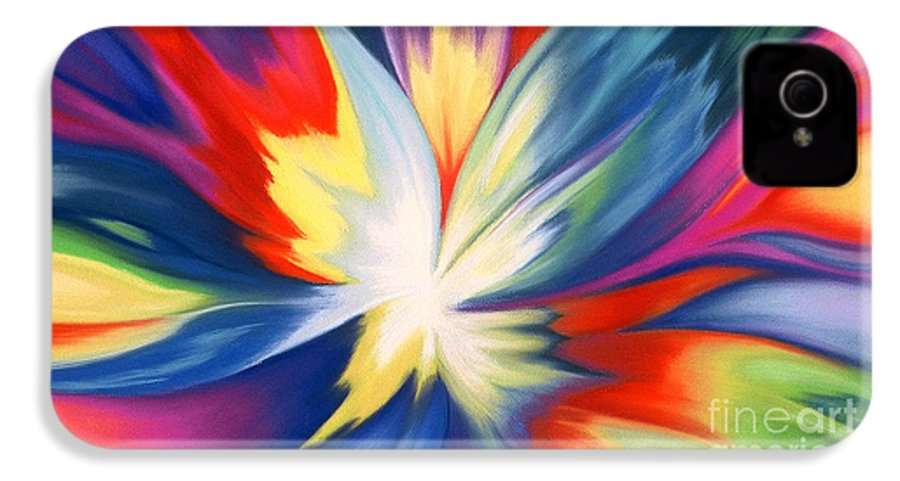 Abstract IPhone 4 Case featuring the painting Burst Of Joy by Lucy Arnold