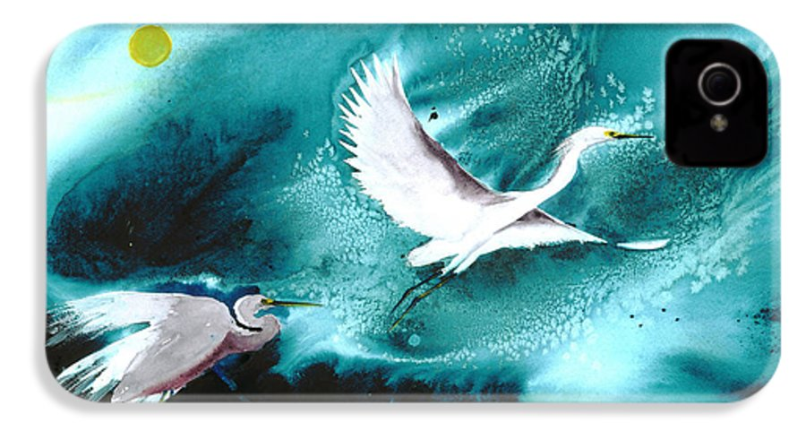 A Pair Of Egrets By The Water At Night- A Watercolor Painting IPhone 4 Case featuring the painting Fairies by Mui-Joo Wee