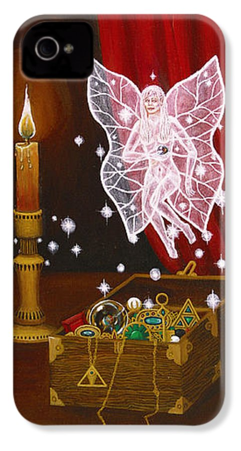 Fairy IPhone 4 Case featuring the painting Fairy Treasure by Roz Eve