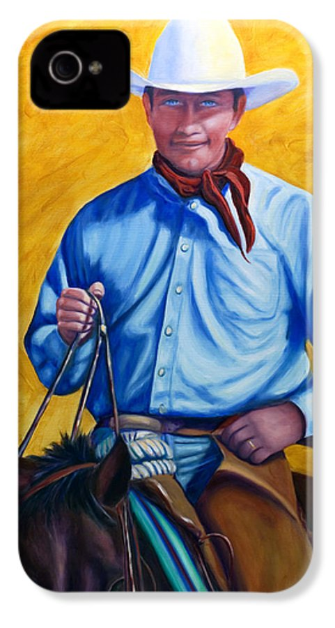 Cowboy IPhone 4 Case featuring the painting Happy Trails by Shannon Grissom