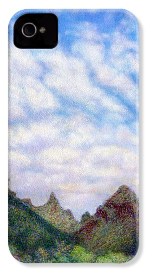 Coastal Decor IPhone 4 Case featuring the painting Island Sky by Kenneth Grzesik