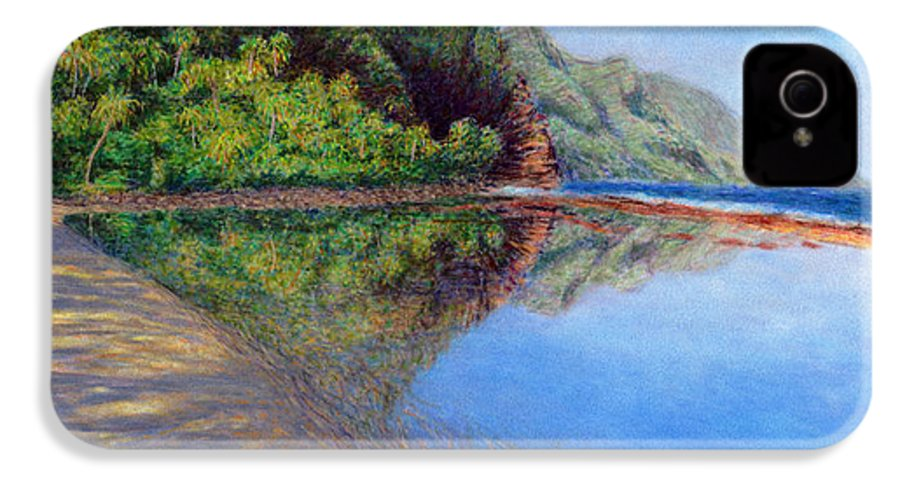 Rainbow Colors Pastel IPhone 4 Case featuring the painting Ke'e Morning by Kenneth Grzesik
