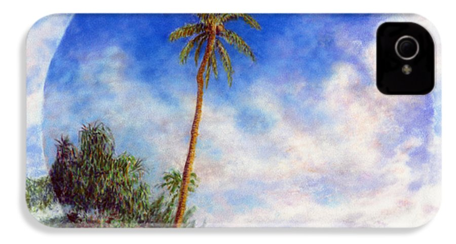 Rainbow Colors Pastel IPhone 4 Case featuring the painting Ke'e Palm by Kenneth Grzesik
