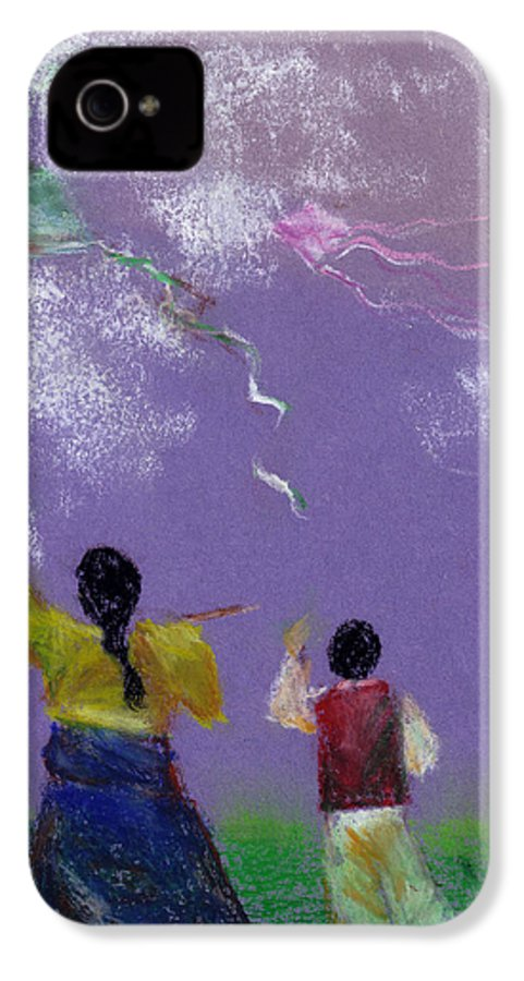 Flying Kite In A Sunny Day-oil Pastel IPhone 4 Case featuring the drawing Kite Flying by Mui-Joo Wee