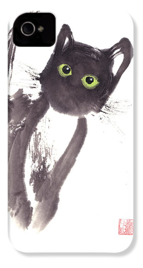 A Curious Black Kitten. This Is A Contemporary Chinese Ink And Color On Rice Paper Painting With Simple Zen Style Brush Strokes.  IPhone 4 Case featuring the painting Midnight by Mui-Joo Wee