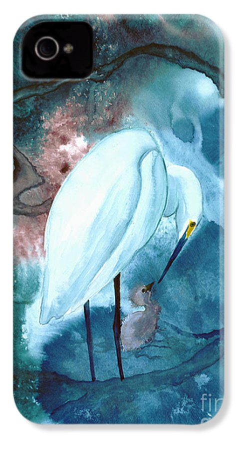 A Mother Egret With Her Chick- A Watercolor Painting IPhone 4 Case featuring the painting Mother And Child by Mui-Joo Wee
