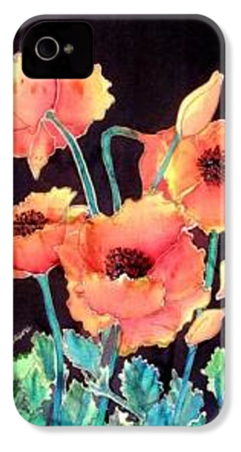 Poppies IPhone 4 Case featuring the painting Orange Poppies by Francine Dufour Jones