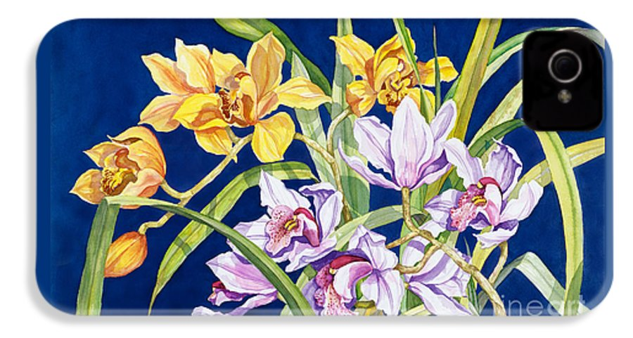 Orchids IPhone 4 Case featuring the painting Orchids In Blue by Lucy Arnold