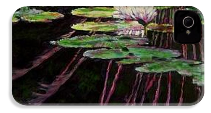 Quiet Pond With Water Lily And Reflections. Missouri Botanical Garden IPhone 4 Case featuring the painting Peaceful Reflections by John Lautermilch