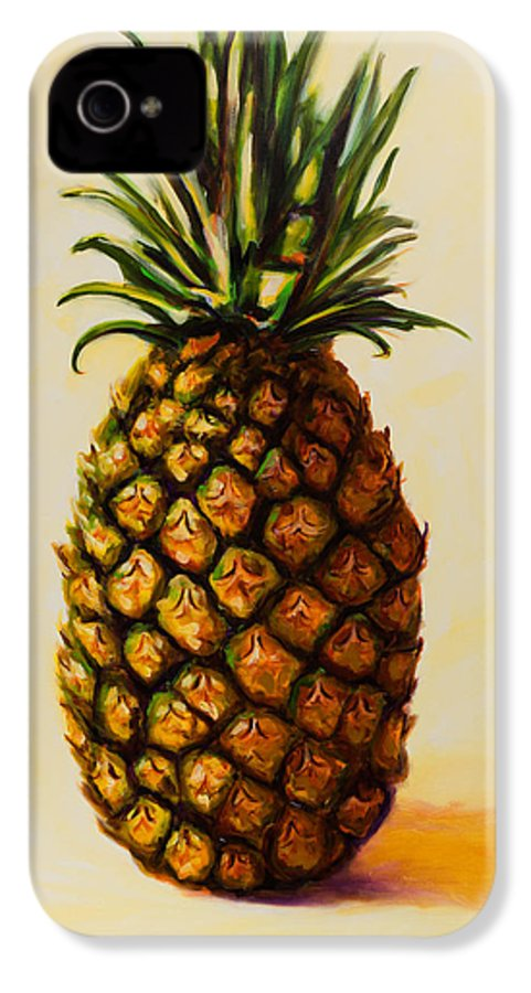 Pineapple IPhone 4 Case featuring the painting Pineapple Angel by Shannon Grissom