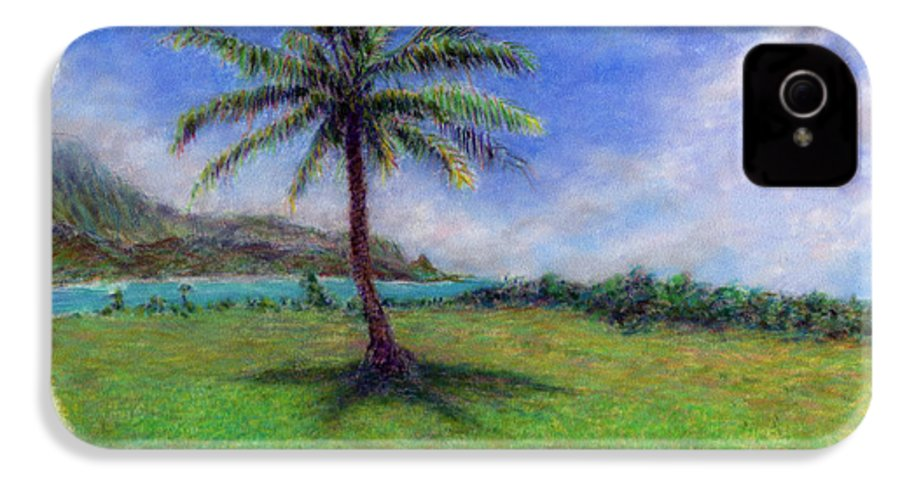 Rainbow Colors Pastel IPhone 4 Case featuring the painting Princeville Palm by Kenneth Grzesik